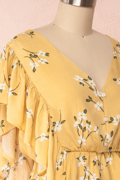 Katalina Yellow Floral Top with Frills | Boutique 1861 side close up
