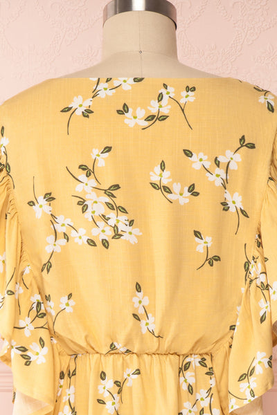 Katalina Yellow Floral Top with Frills | Boutique 1861 back close up