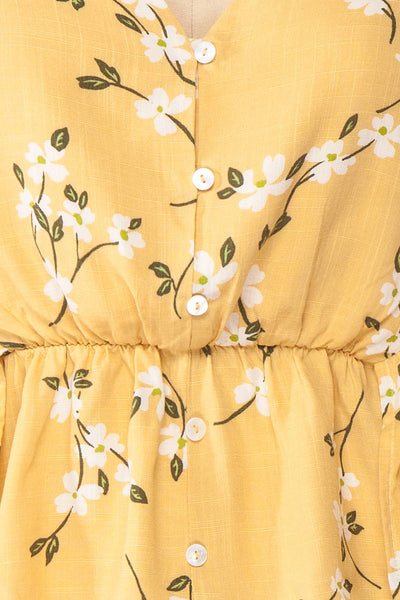 Katalina Yellow Floral Top with Frills | Boutique 1861 fabric