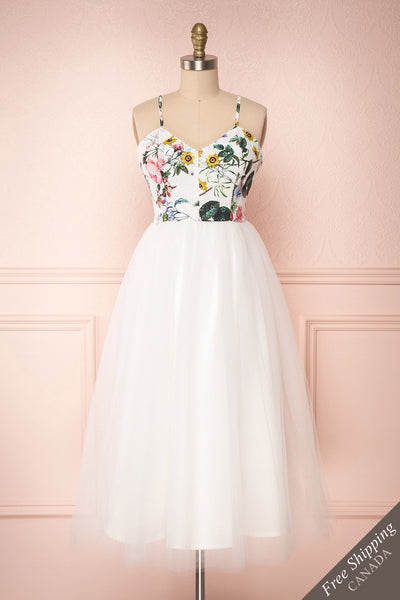 Katalinka White Tulle Floral A-Line Dress | Boutique 1861