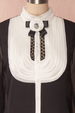 Kathryn Black & White Lace Ruffled Chiffon Blouse | Boutique 1861 3