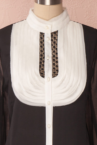 Kathryn Black & White Lace Ruffled Chiffon Blouse | Boutique 1861 2