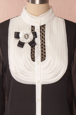 Kathryn Black & White Lace Ruffled Chiffon Blouse | Boutique 1861 5