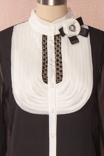Kathryn Black & White Lace Ruffled Chiffon Blouse | Boutique 1861 7