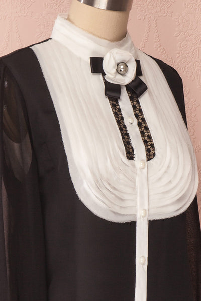 Kathryn Black & White Lace Ruffled Chiffon Blouse | Boutique 1861 10
