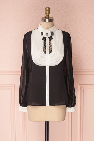 Kathryn Black & White Lace Ruffled Chiffon Blouse | Boutique 1861 1