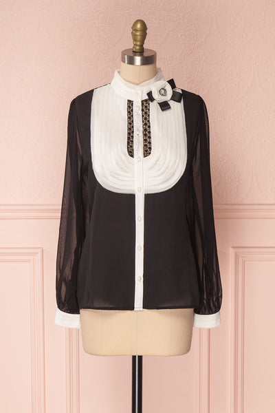 Kathryn Black & White Lace Ruffled Chiffon Blouse | Boutique 1861 6