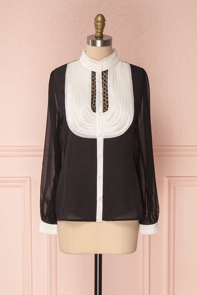 Kathryn Black & White Lace Ruffled Chiffon Blouse | Boutique 1861 8