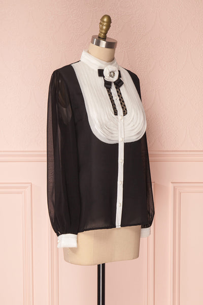 Kathryn Black & White Lace Ruffled Chiffon Blouse | Boutique 1861 9