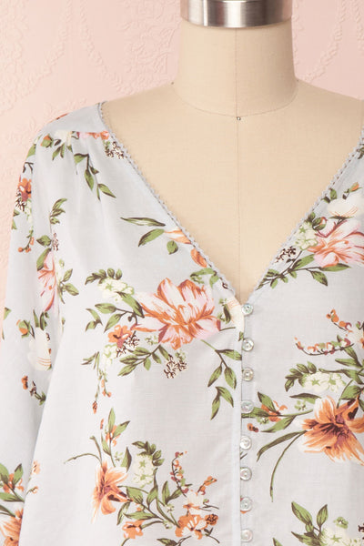 Katinka Light Blue Floral Loose Blouse | Boutique 1861 front close up