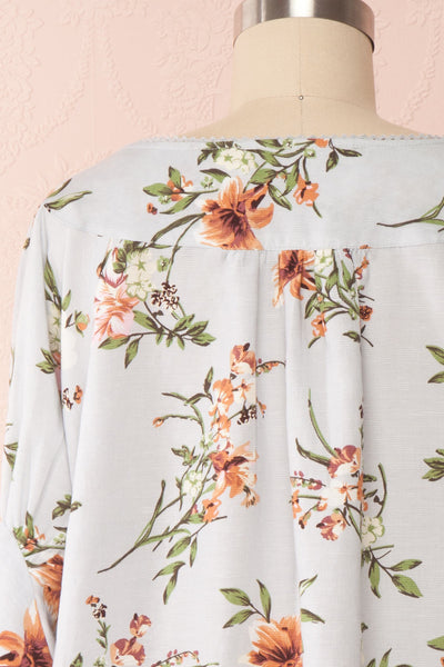 Katinka Light Blue Floral Loose Blouse | Boutique 1861 back close up