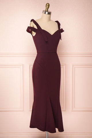 Katrine Purple-Red Fitted Midi Cocktail Dress | Boutique 1861
