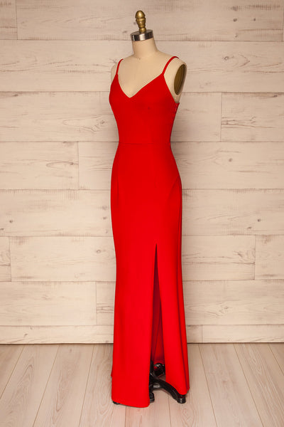 Kavadartsi Red V-Neck Maxi Dress | La petite garçonne  side view