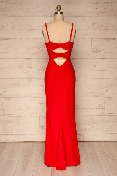 Kavadartsi Red V-Neck Maxi Dress | La petite garçonne  back view