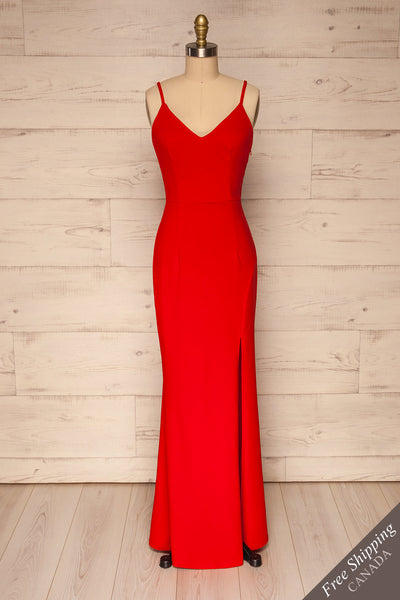 Kavadartsi Red V-Neck Maxi Dress | La petite garçonne  front view