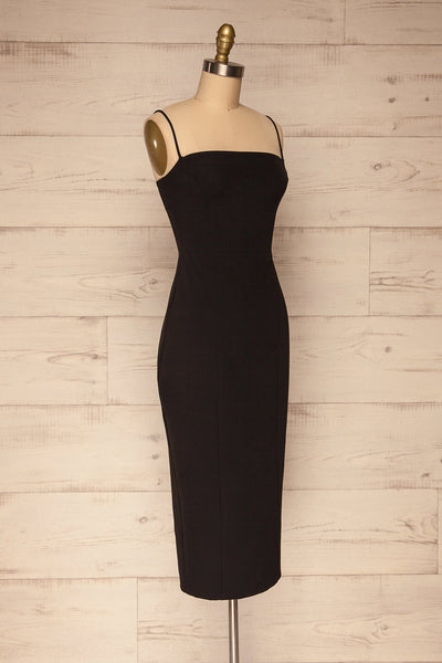 Kavala Black Fitted Midi Dress | La petite garçonne side view