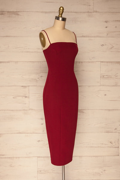 Kavala Burgundy Fitted Midi Dress | La petite garçonne side view
