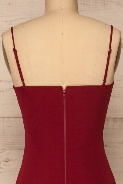 Kavala Burgundy Fitted Midi Dress | La petite garçonne back close-up