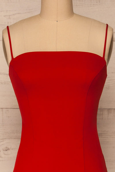 Kavala Red Fitted Midi Dress | La petite garçonne front close-up