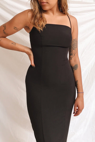 Kavala Black Fitted Midi Dress | La petite garçonne on model