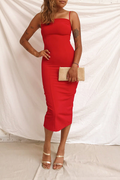 Kavala Red Fitted Midi Dress | La petite garçonne model look