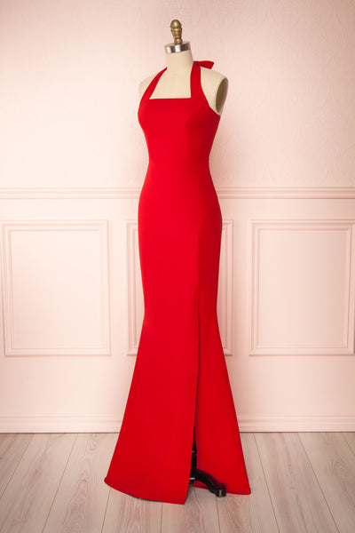 Kavi Red Halter Maxi Dress | La petite garçonne side view