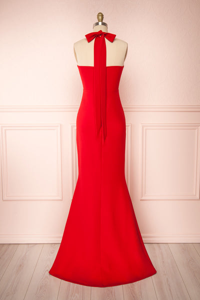 Kavi Red Halter Maxi Dress | La petite garçonne back view