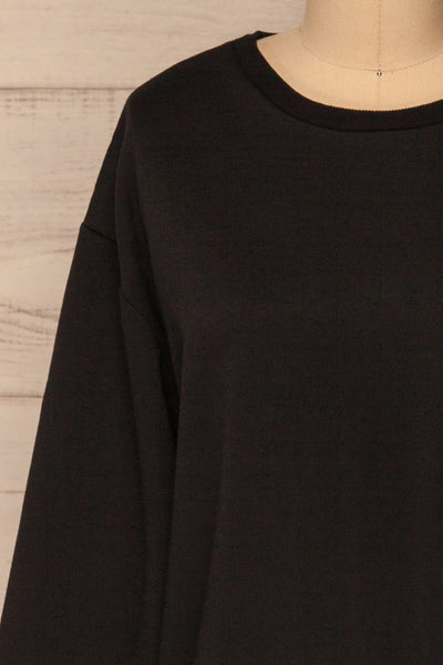 Kazann Black Crew Neck Sweater | La petite garçonne  front close-up