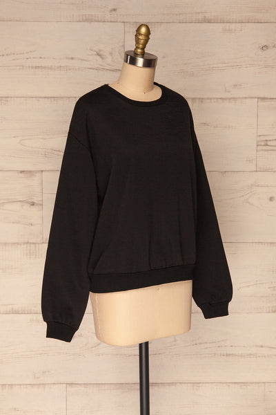 Kazann Black Crew Neck Sweater | La petite garçonne side view