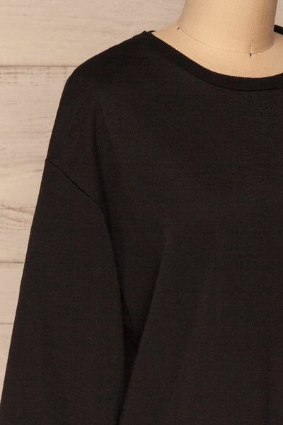 Kazann Black Crew Neck Sweater | La petite garçonne  side close-up
