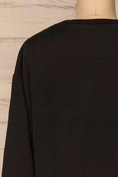 Kazann Black Crew Neck Sweater | La petite garçonne  back close-up