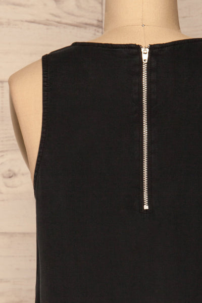 Kazimierz Black Overzised Midi Dress | La petite garçonne back close-up
