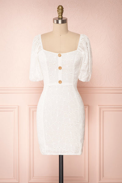 Kealani White Lace Fitted Dress with Puff Sleeves | Boutique 1861