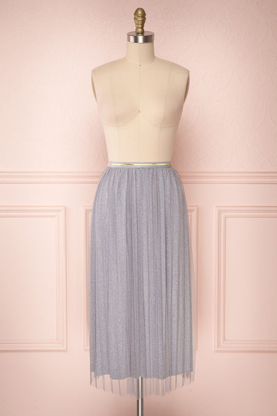 Keelin Gris Grey Glitter Mesh Midi Skirt | Boutique 1861 1