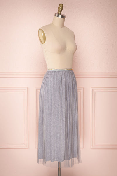 Keelin Gris Grey Glitter Mesh Midi Skirt | Boutique 1861 3
