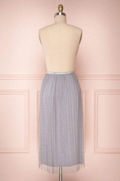 Keelin Gris Grey Glitter Mesh Midi Skirt | Boutique 1861 5