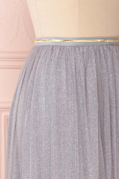 Keelin Gris Grey Glitter Mesh Midi Skirt | Boutique 1861 6