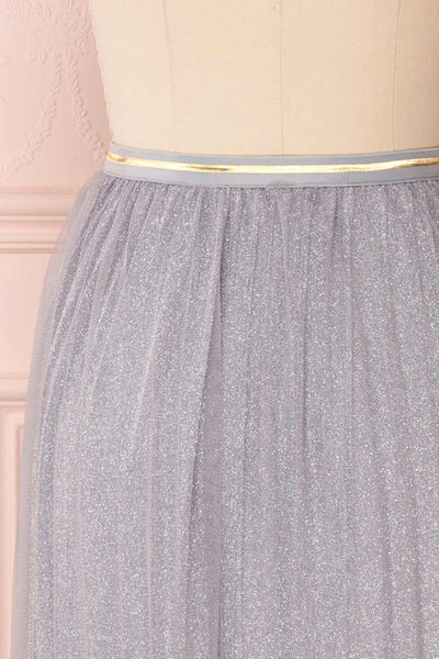 Keelin Gris Grey Glitter Mesh Midi Skirt | Boutique 1861 4