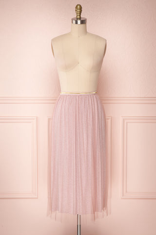 Keelin Rose Pink Glitter Mesh Midi Skirt | Boutique 1861