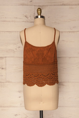 Kefalos Clay Brown Crocheted Lace Crop Top | La Petite Garçonne 7