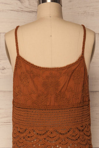 Kefalos Clay Brown Crocheted Lace Crop Top | La Petite Garçonne 8