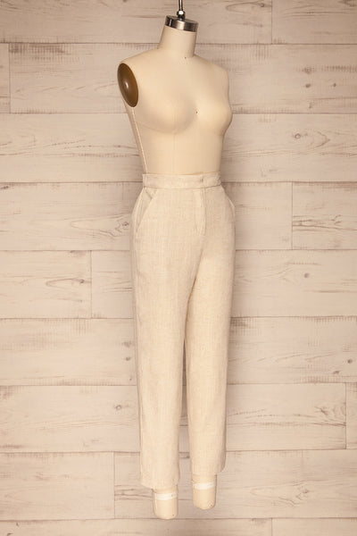 Keflavik Beige High Waist Cropped Pants | La petite garçonne side view
