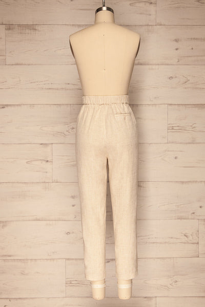 Keflavik Beige High Waist Cropped Pants | La petite garçonne back view