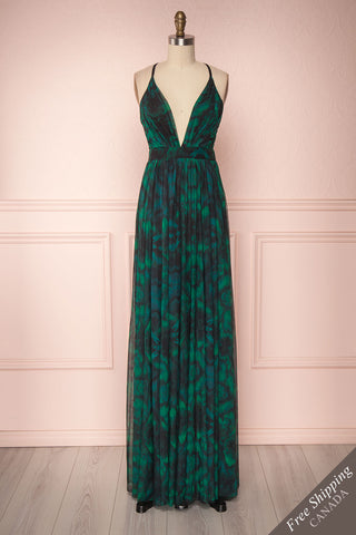 Keillour Green Mesh Gown with Plunging Neckline | Boutique 1861