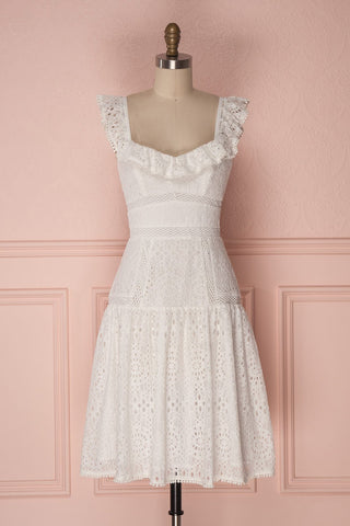 Kelita Ivoire White Lace Flared Midi Bridal Dress | Boudoir 1861