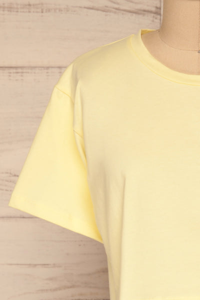 Kells Yellow Cropped T-Shirt | La petite garçonne front close-up