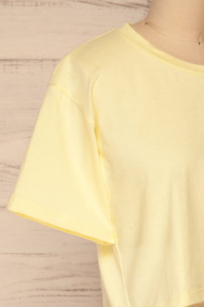 Kells Yellow Cropped T-Shirt | La petite garçonne side close-up