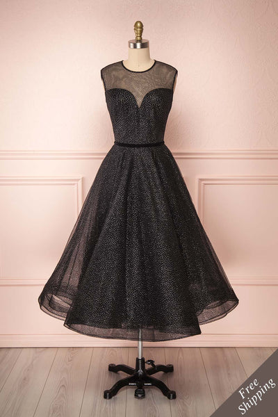 Kenyka Black & Silver Glitter A-Line Party Dress | FRONT VIEW | Boutique 1861