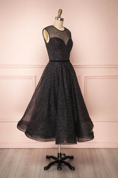 Kenyka Black & Silver Glitter A-Line Party Dress | SIDE VIEW | Boutique 1861