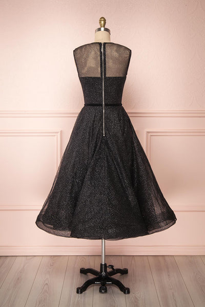 Kenyka Black & Silver Glitter A-Line Party Dress | BACK VIEW | Boutique 1861